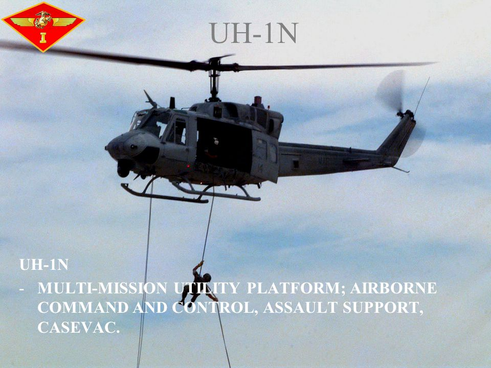 UH-1N -MULTI-MISSION UTILITY PLATFORM; AIRBORNE COMMAND AND CONTROL, ASSAULT SUPPORT, CASEVAC. UH-1N