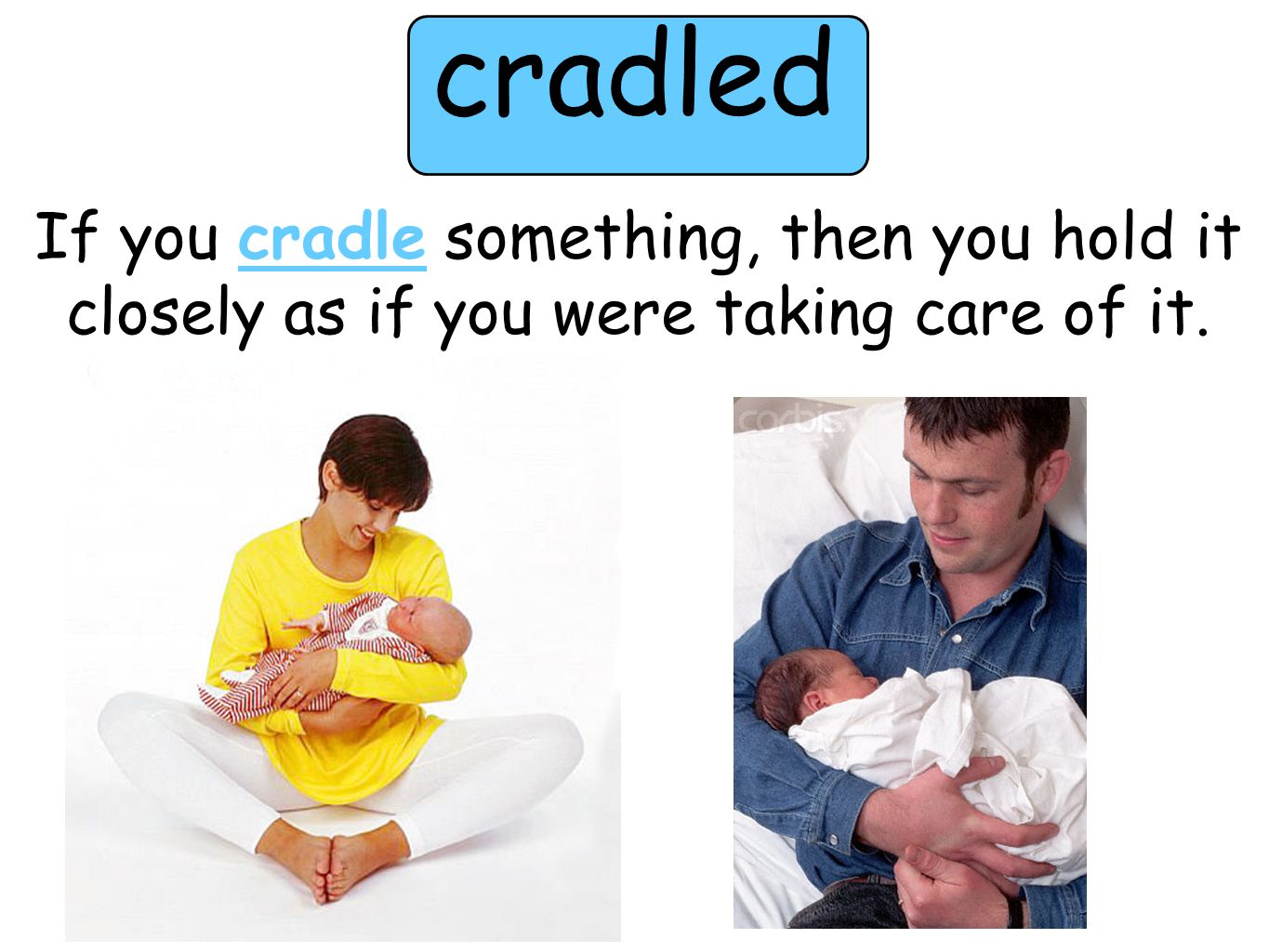 cradled If you cradle something, then you hold it closely as if you were taking care of it.