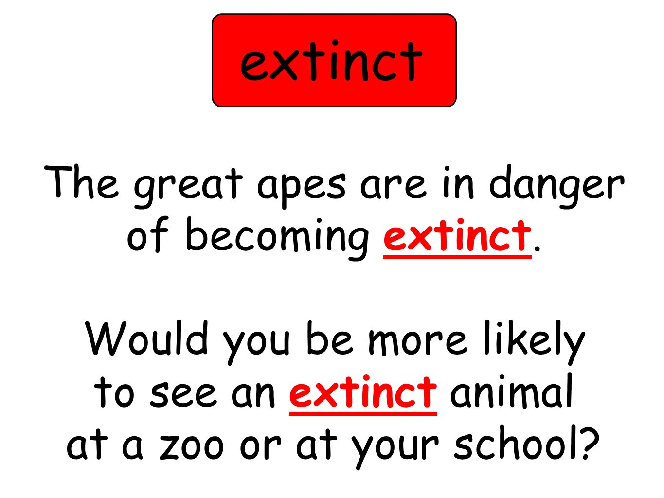 The great apes are in danger of becoming extinct.