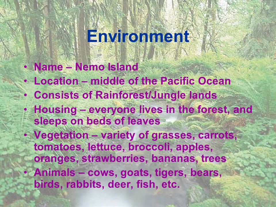 Environment Name – Nemo Island Location – middle of the Pacific Ocean Consists of Rainforest/Jungle lands Housing – everyone lives in the forest, and sleeps on beds of leaves Vegetation – variety of grasses, carrots, tomatoes, lettuce, broccoli, apples, oranges, strawberries, bananas, trees Animals – cows, goats, tigers, bears, birds, rabbits, deer, fish, etc.