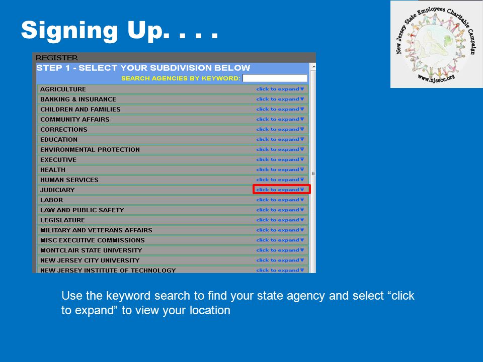 Signing Up.... Select your location from the list and go to step two at right