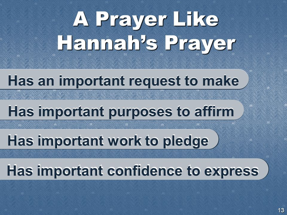 A Prayer Like Hannah's Prayer 13 Has important confidence to express Has an important request to make Has important purposes to affirm Has important work to pledge