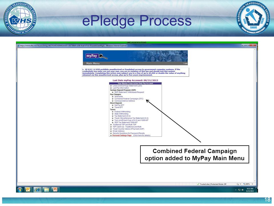 18 ePledge Process Combined Federal Campaign option added to MyPay Main Menu
