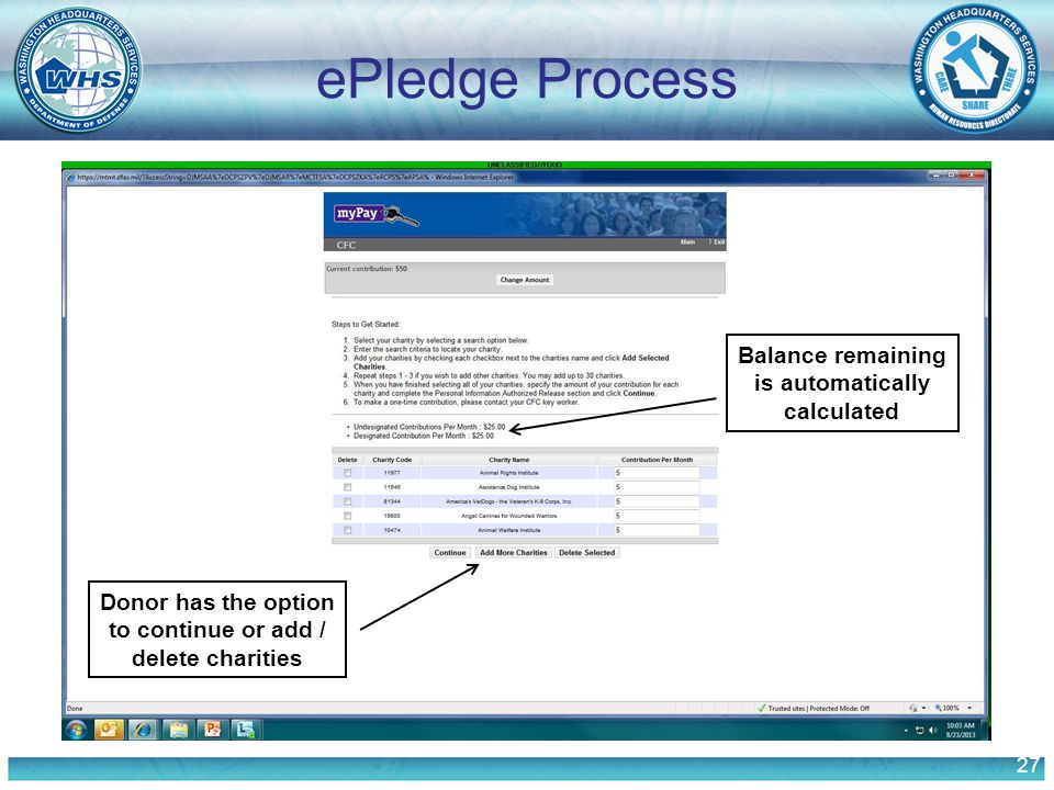 27 ePledge Process Balance remaining is automatically calculated Donor has the option to continue or add / delete charities