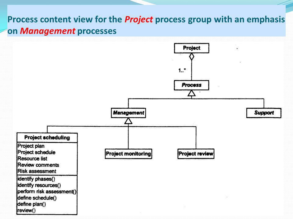 Process content view for the Project process group with an emphasis on Management processes