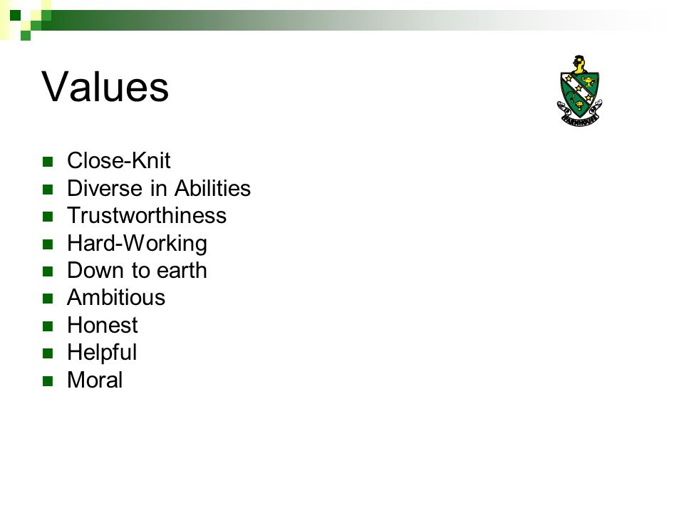 Values Close-Knit Diverse in Abilities Trustworthiness Hard-Working Down to earth Ambitious Honest Helpful Moral