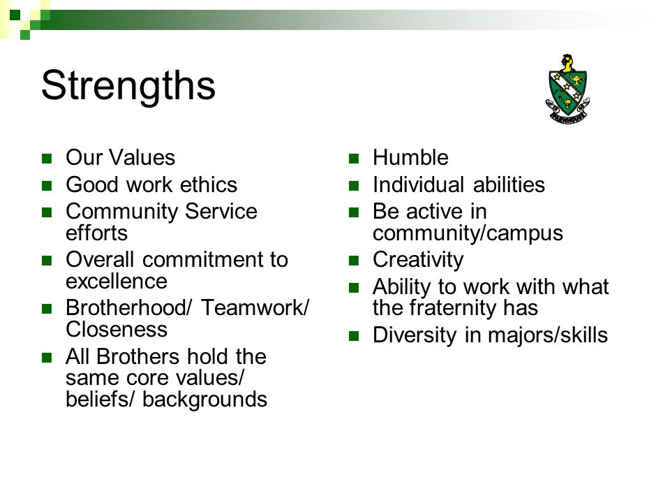 Weaknesses Limited funds Graduation rates/keeping members in school Member involvement in activities Spiritual/Religious enrichment Getting everyone to help recruit Some people not maximizing their potential in FarmHouse Member involvement on campus Inability to use outside resources to our advantage Alumni involvement Need more people to step up and take charge Focus on quantity not quality in recruitment
