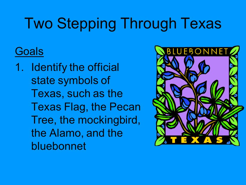 Two Stepping Through Texas Goals 1.Identify the official state symbols of Texas, such as the Texas Flag, the Pecan Tree, the mockingbird, the Alamo, a
