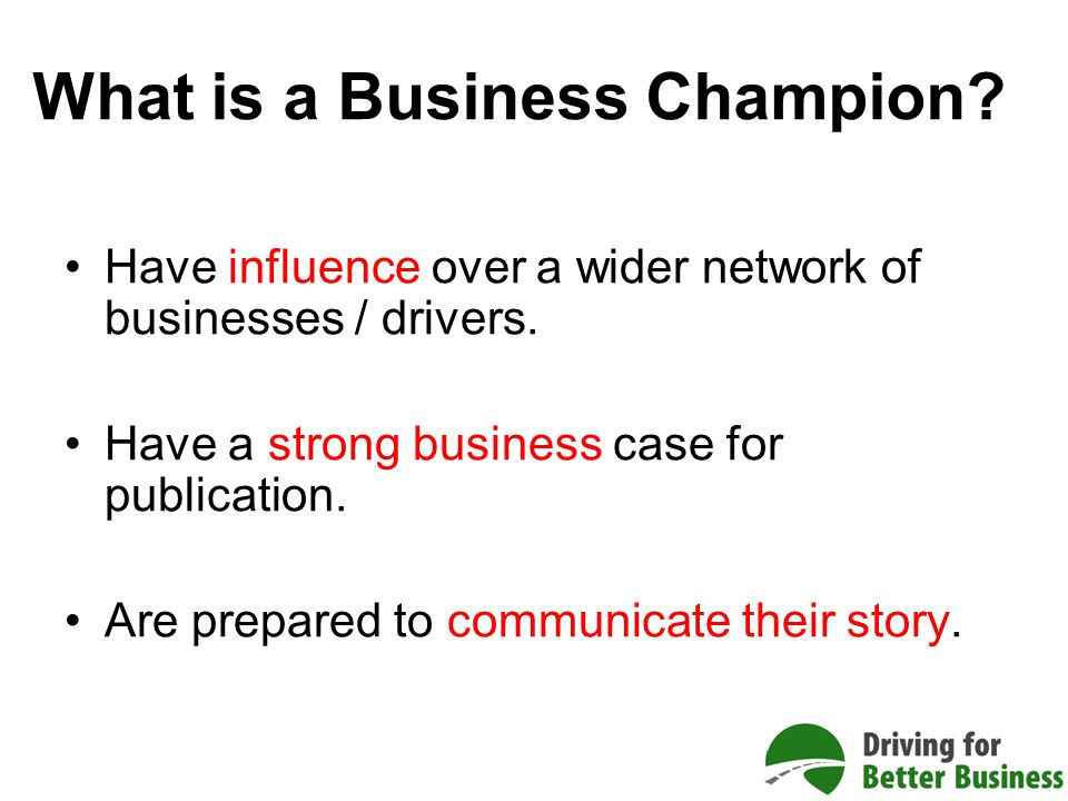 What is a Business Champion. Have influence over a wider network of businesses / drivers.