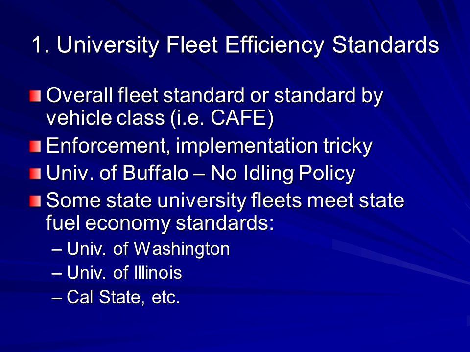 1. University Fleet Efficiency Standards Overall fleet standard or standard by vehicle class (i.e.