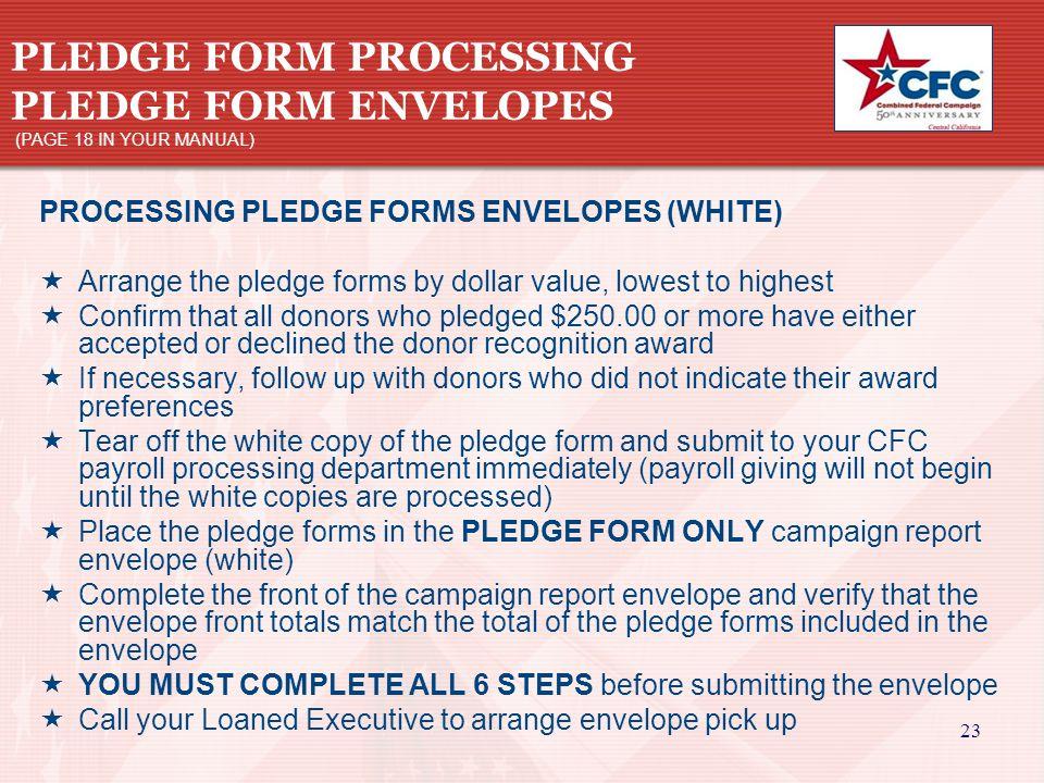 23 PLEDGE FORM PROCESSING PLEDGE FORM ENVELOPES (PAGE 18 IN YOUR MANUAL) PROCESSING PLEDGE FORMS ENVELOPES (WHITE)  Arrange the pledge forms by dolla