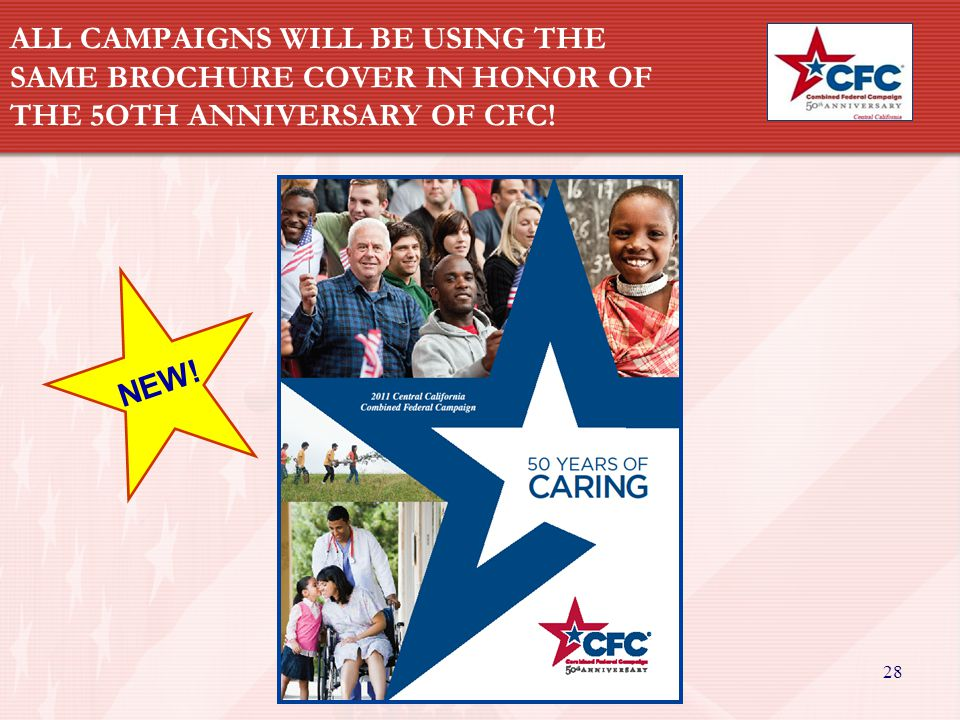28 ALL CAMPAIGNS WILL BE USING THE SAME BROCHURE COVER IN HONOR OF THE 5OTH ANNIVERSARY OF CFC.