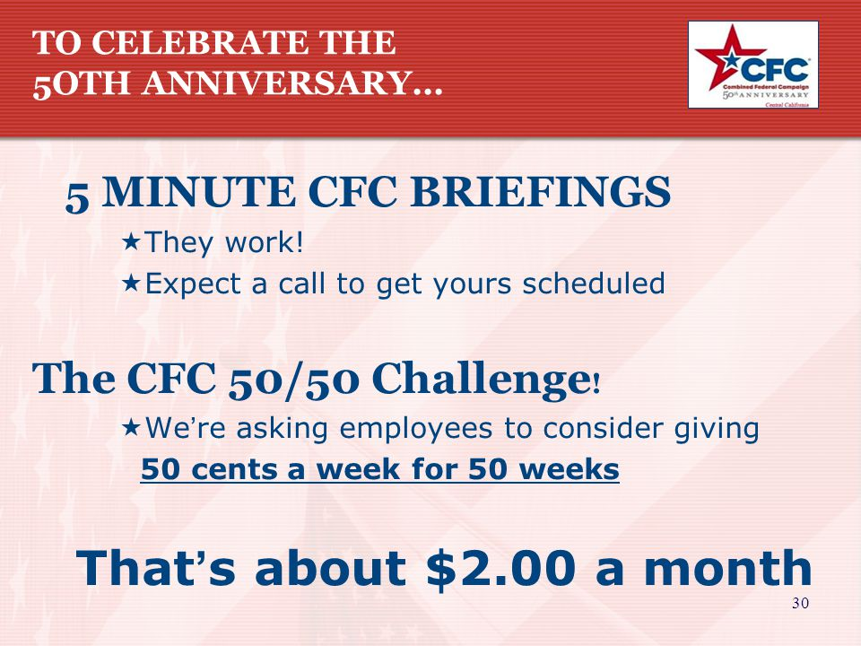 30 TO CELEBRATE THE 5OTH ANNIVERSARY... 5 MINUTE CFC BRIEFINGS  They work.