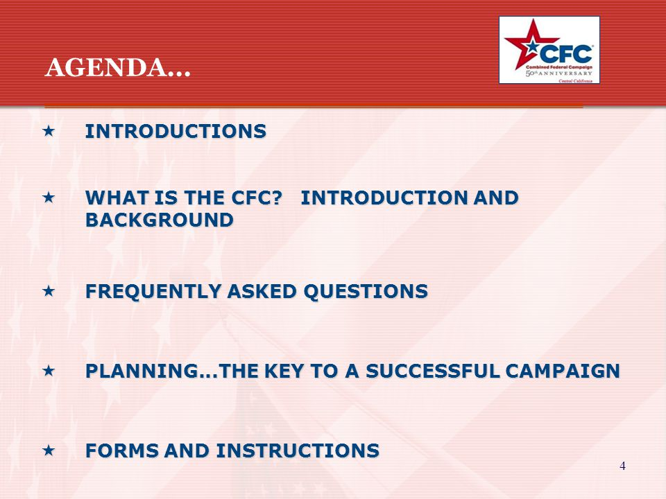 4  INTRODUCTIONS  WHAT IS THE CFC? INTRODUCTION AND BACKGROUND  FREQUENTLY ASKED QUESTIONS  PLANNING...THE KEY TO A SUCCESSFUL CAMPAIGN  FORMS AN