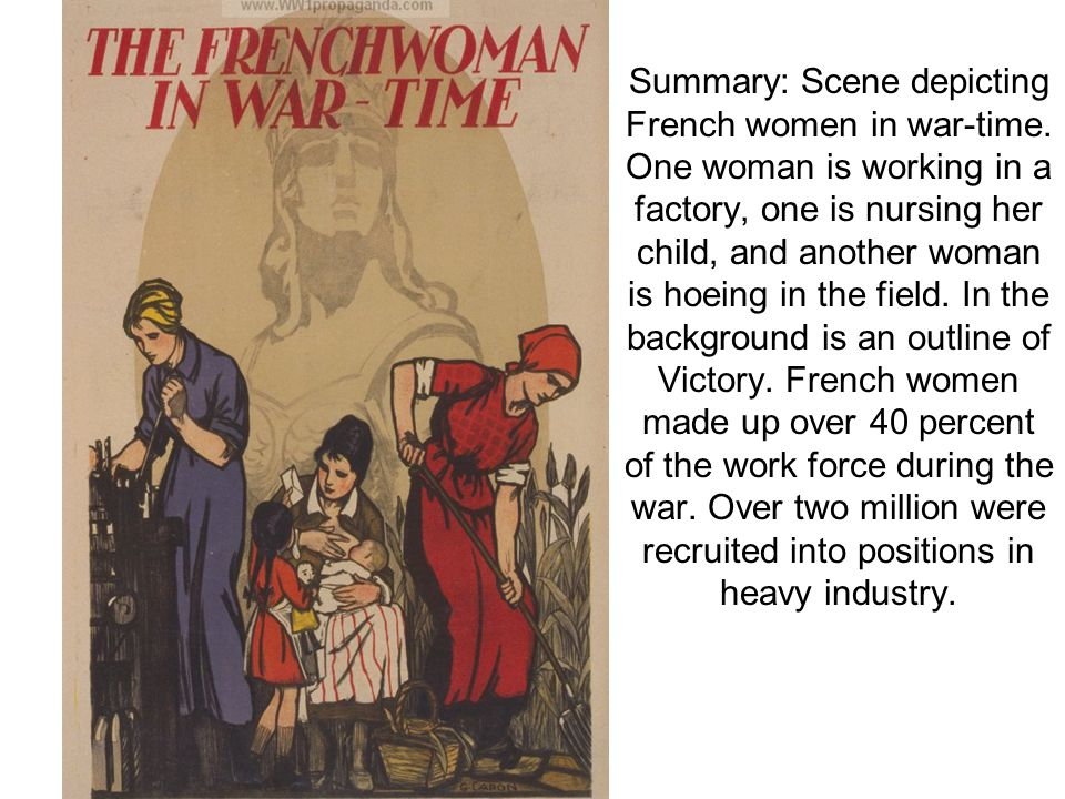 Summary: Scene depicting French women in war-time.