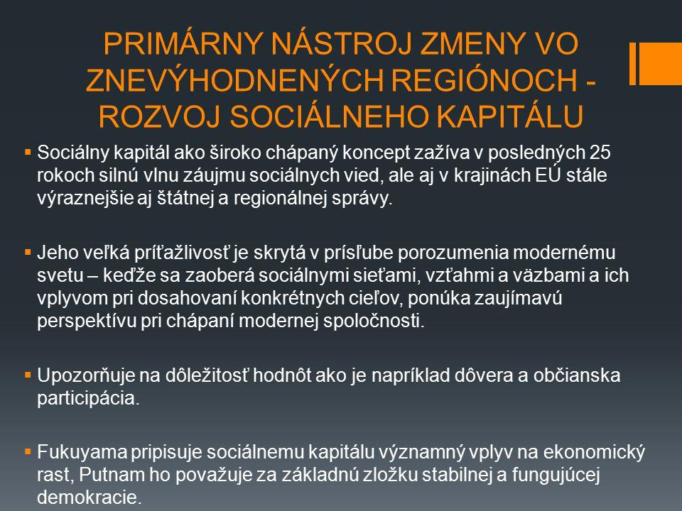 PRIMÁRNY NÁSTROJ ZMENY VO ZNEVÝHODNENÝCH REGIÓNOCH - ROZVOJ SOCIÁLNEHO KAPITÁLU  Sociálny kapitál ako široko chápaný koncept zažíva v posledných 25 rokoch silnú vlnu záujmu sociálnych vied, ale aj v krajinách EÚ stále výraznejšie aj štátnej a regionálnej správy.