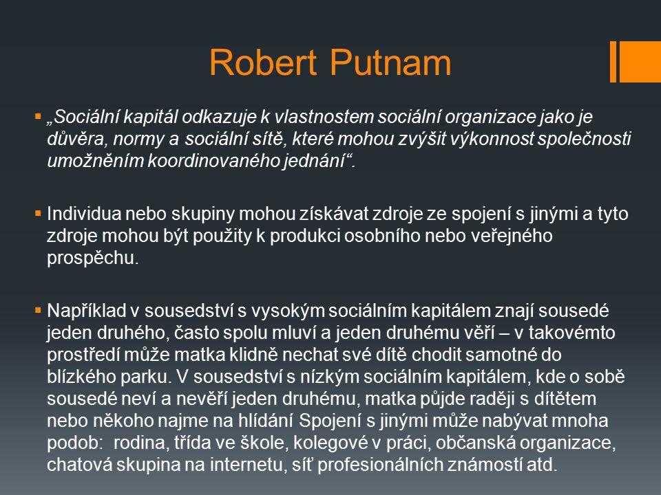 """Robert Putnam  """"Sociální kapitál odkazuje k vlastnostem sociální organizace jako je důvěra, normy a sociální sítě, které mohou zvýšit výkonnost společnosti umožněním koordinovaného jednání ."""