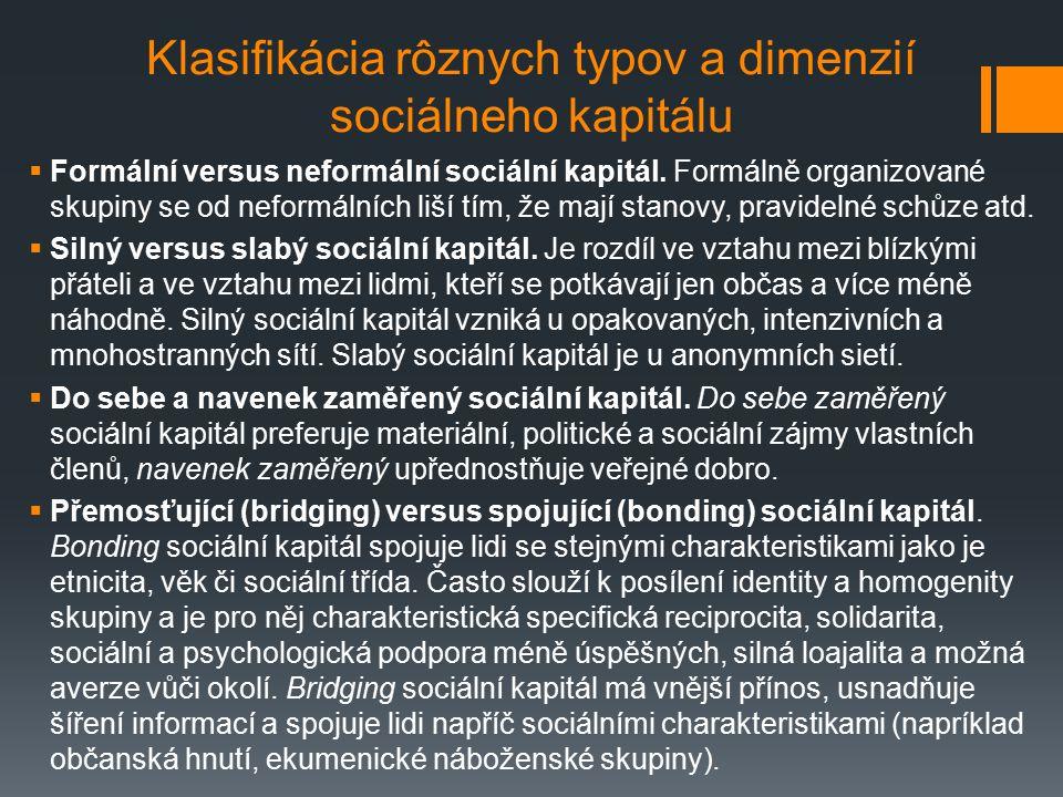 Klasifikácia rôznych typov a dimenzií sociálneho kapitálu  Formální versus neformální sociální kapitál. Formálně organizované skupiny se od neformáln