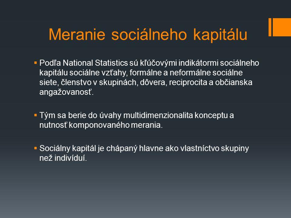 Meranie sociálneho kapitálu  Podľa National Statistics sú kľúčovými indikátormi sociálneho kapitálu sociálne vzťahy, formálne a neformálne sociálne siete, členstvo v skupinách, dôvera, reciprocita a občianska angažovanosť.