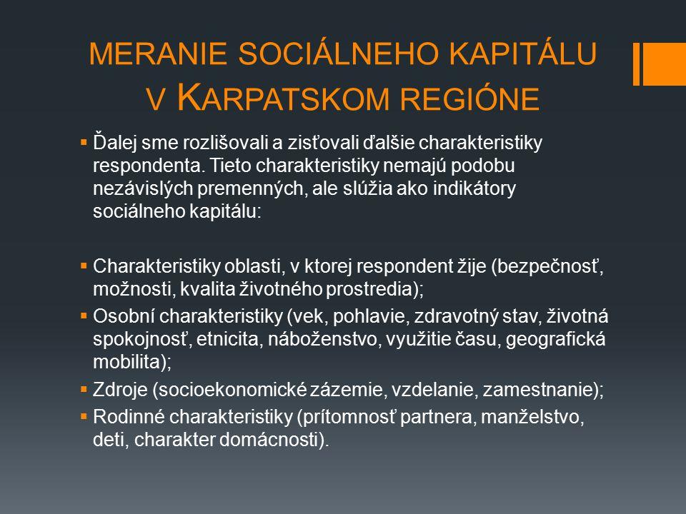 MERANIE SOCIÁLNEHO KAPITÁLU V K ARPATSKOM REGIÓNE  Ďalej sme rozlišovali a zisťovali ďalšie charakteristiky respondenta. Tieto charakteristiky nemajú