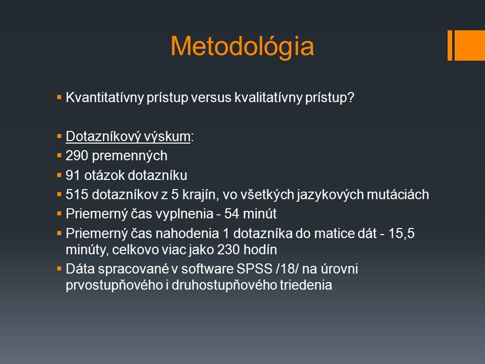 Metodológia  Kvantitatívny prístup versus kvalitatívny prístup.