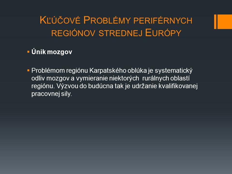 K ĽÚČOVÉ P ROBLÉMY PERIFÉRNYCH REGIÓNOV STREDNEJ E URÓPY  Únik mozgov  Problémom regiónu Karpatského oblúka je systematický odliv mozgov a vymierani