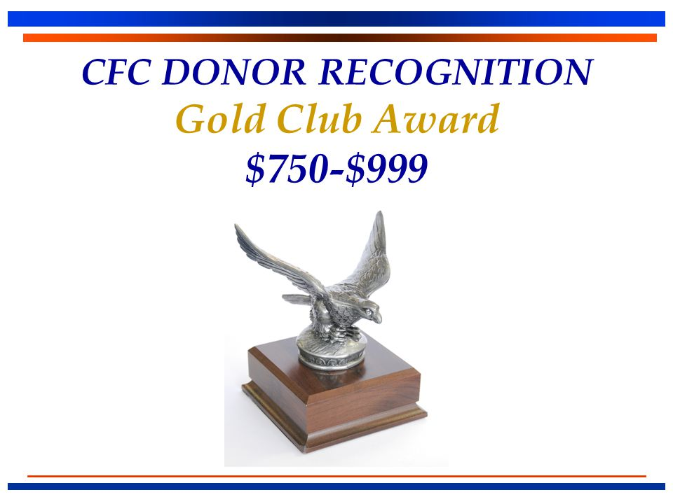 CFC DONOR RECOGNITION Gold Club Award $750-$999