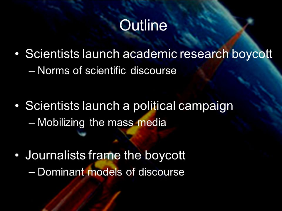 Washington Post Coverage of Scientists' SDI Critiques Technical Critiques –Only 1 of 3 studies is headlined –No editorials Scientists' Boycott –Headline news –Editorial: Sanctimony and Science