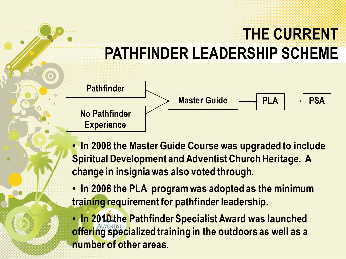 THE CURRENT PATHFINDER LEADERSHIP SCHEME In 2008 the Master Guide Course was upgraded to include Spiritual Development and Adventist Church Heritage.