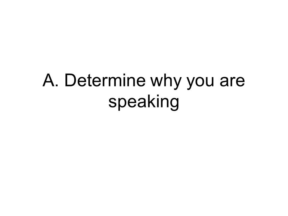 A. Determine why you are speaking