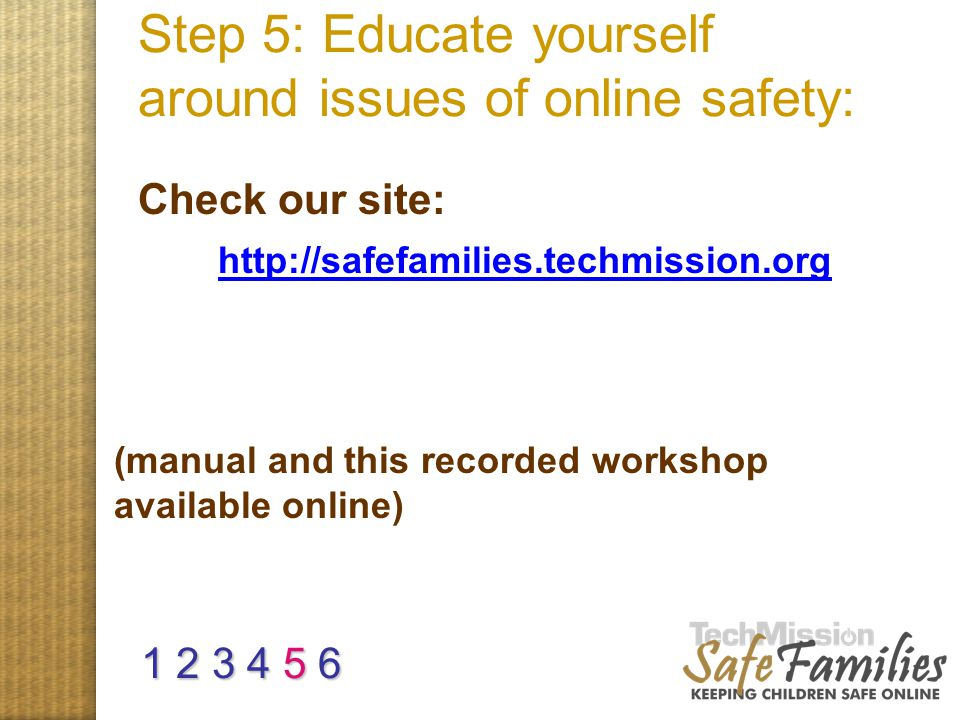 Step 5: Educate yourself around issues of online safety: site and manual Check our site: (manual and this recorded workshop available online) http://s