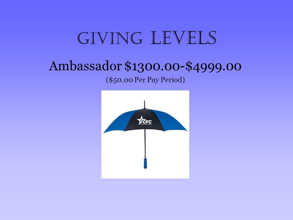 Giving Levels Ambassador $1300.00-$4999.00 ($50.00 Per Pay Period)
