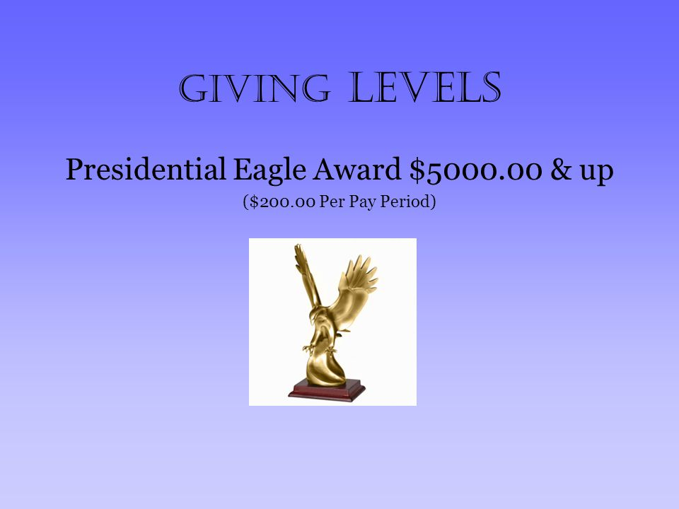 Giving Levels Presidential Eagle Award $5000.00 & up ($200.00 Per Pay Period)