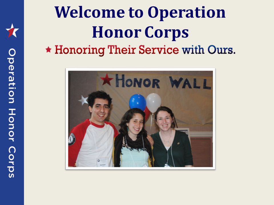 Welcome to Operation Honor Corps