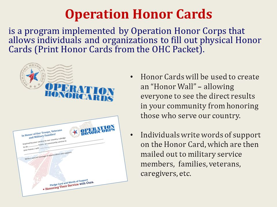 Operation Honor Cards is a program implemented by Operation Honor Corps that allows individuals and organizations to fill out physical Honor Cards (Print Honor Cards from the OHC Packet).