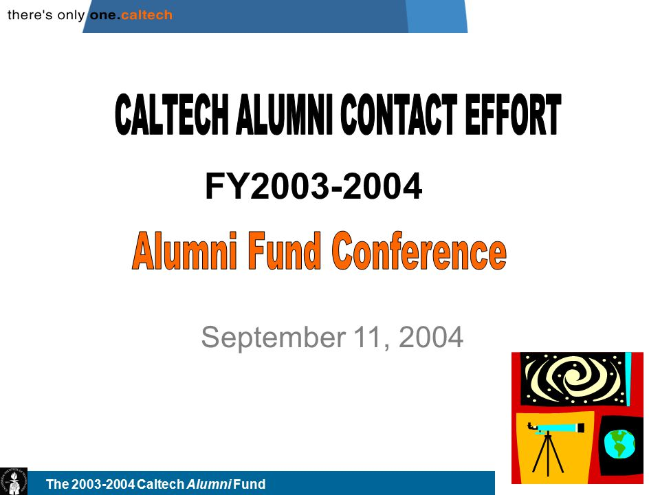 The 2003-2004 Caltech Alumni Fund 2 Methods Overview Direct Mail – most gifts (by far) sent in response to mailings; mostly current and recently lapsed donors; have begun increased segmentation (specialized for different groups) E-mail – Most cost effective; have fewer valid addresses than direct mail; same donors (current/recent lapsed) Student Phone Program (SPP) – direct contact; best at converting non-donors; 30% direct (credit card) gifts; limited expansion possibilities