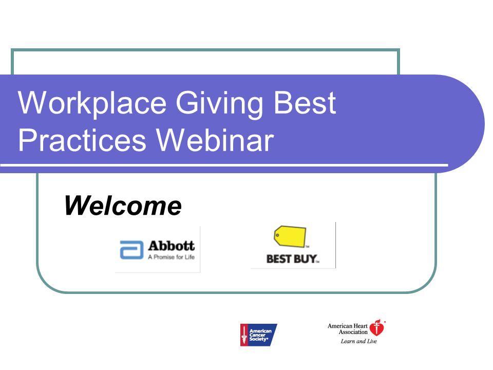 Workplace Giving Best Practices Webinar Welcome