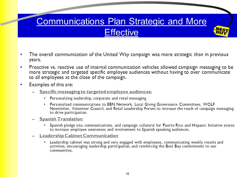 18 Communications Plan Strategic and More Effective The overall communication of the United Way campaign was more strategic than in previous years.