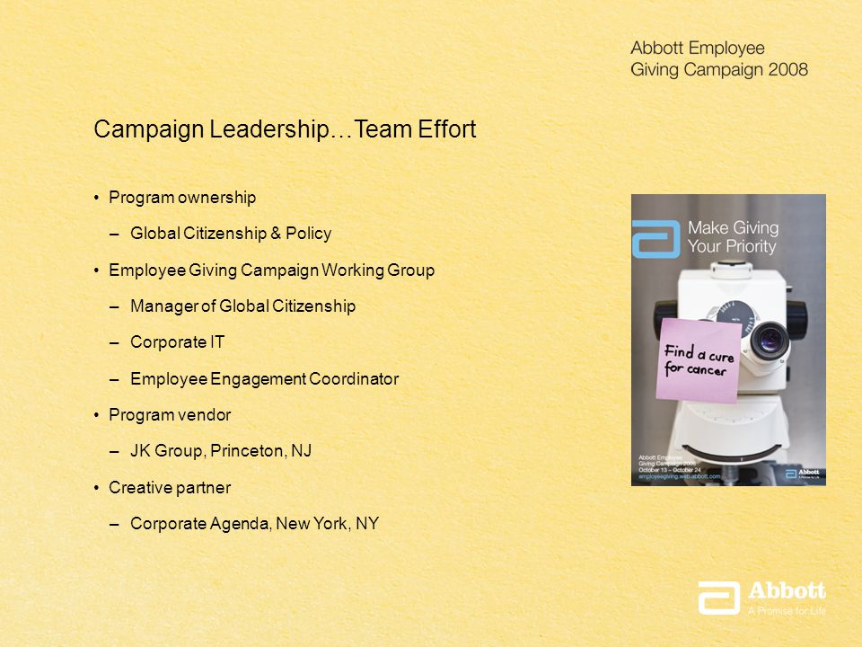 Presentation Title Date Campaign Leadership…Team Effort Program ownership – Global Citizenship & Policy Employee Giving Campaign Working Group – Manager of Global Citizenship – Corporate IT – Employee Engagement Coordinator Program vendor – JK Group, Princeton, NJ Creative partner – Corporate Agenda, New York, NY