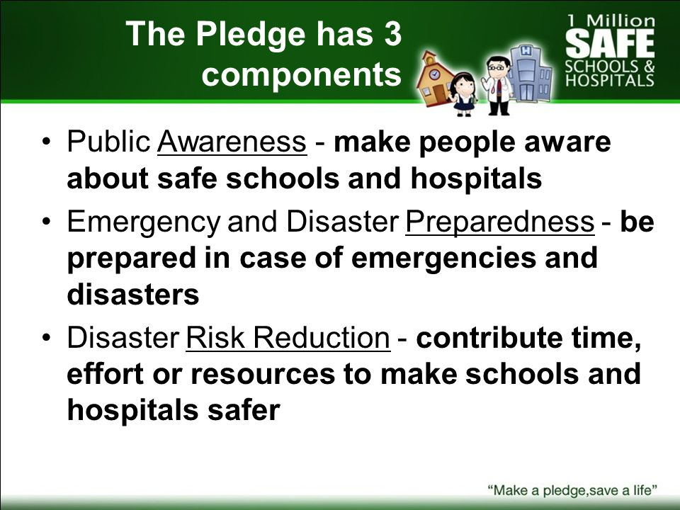 The Pledge has 3 components Public Awareness - make people aware about safe schools and hospitals Emergency and Disaster Preparedness - be prepared in