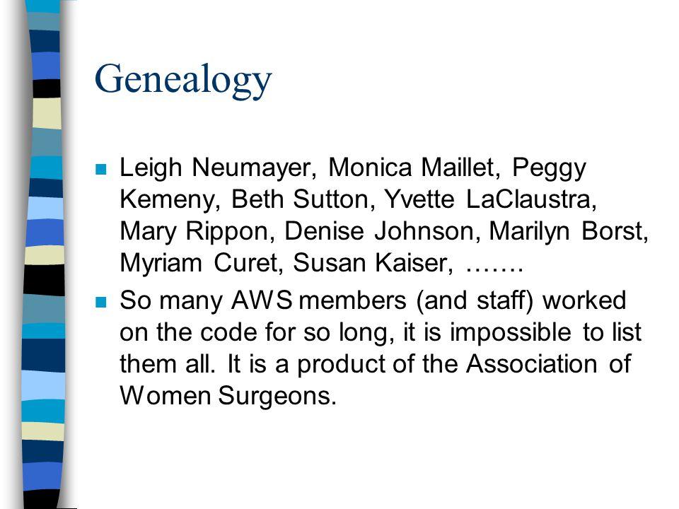 Genealogy n Leigh Neumayer, Monica Maillet, Peggy Kemeny, Beth Sutton, Yvette LaClaustra, Mary Rippon, Denise Johnson, Marilyn Borst, Myriam Curet, Susan Kaiser, …….