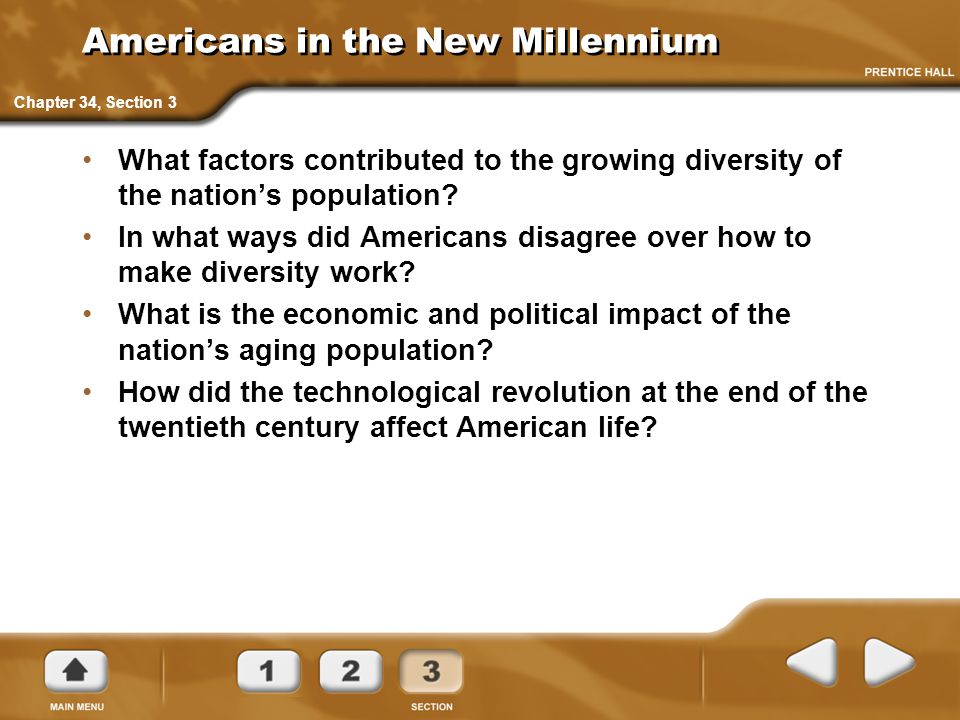 Americans in the New Millennium What factors contributed to the growing diversity of the nation's population? In what ways did Americans disagree over