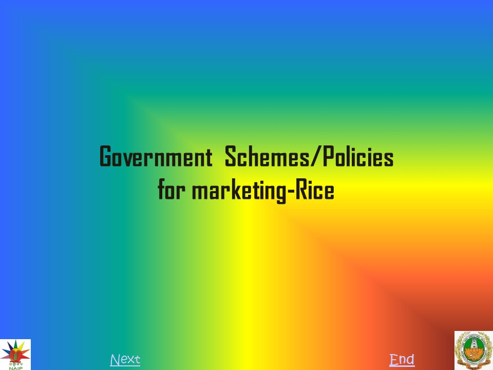Out line Introduction Government schemes for Rice Government policies for marketing Rice Marketing organization References Questions and conclusion NextPreviousEnd