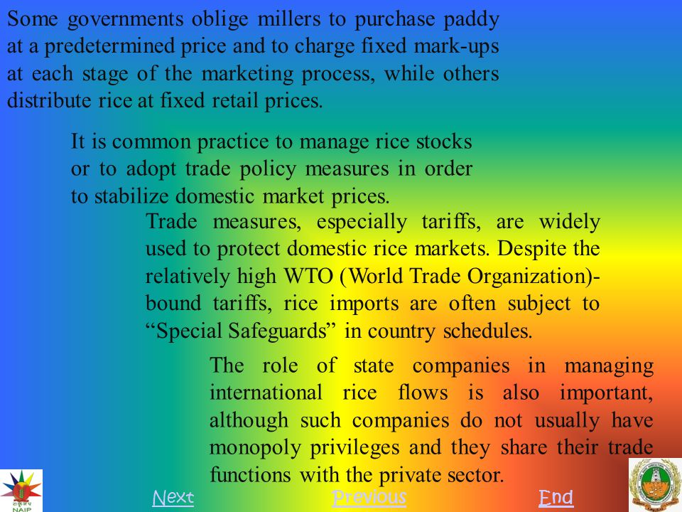 REVIEW OF RICE POLICIES FROM AWTO PERSPECTIVE NextPreviousEnd Bound tariffs Bound tariff rates for rice are generally high, often over 100 percent.