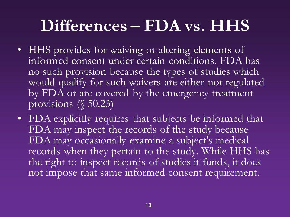 13 Differences – FDA vs.
