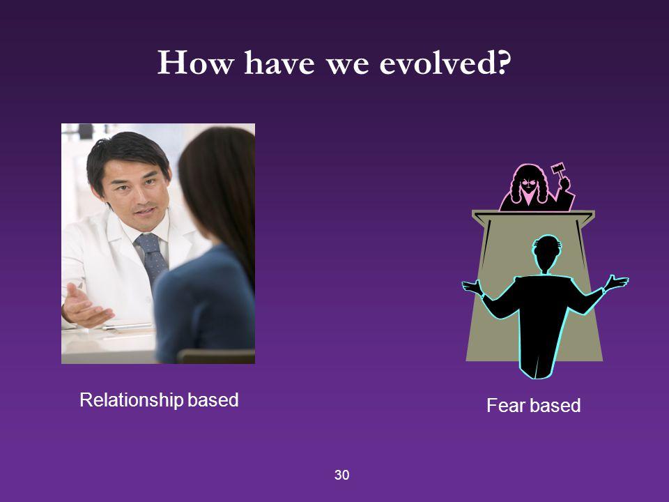 30 How have we evolved? Relationship based Fear based