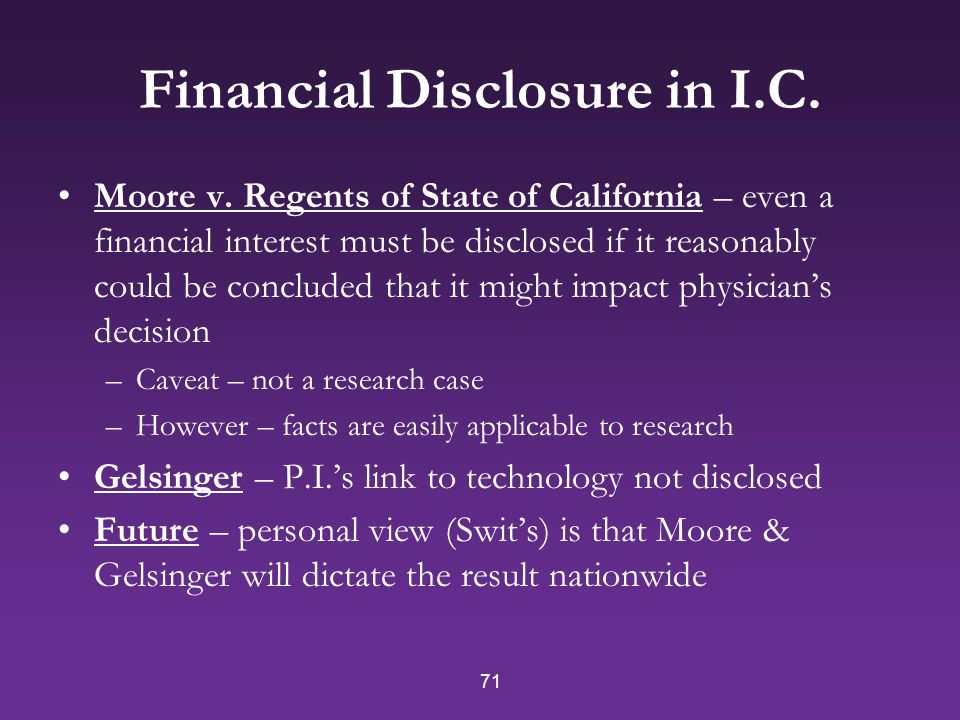 71 Financial Disclosure in I.C.Moore v.
