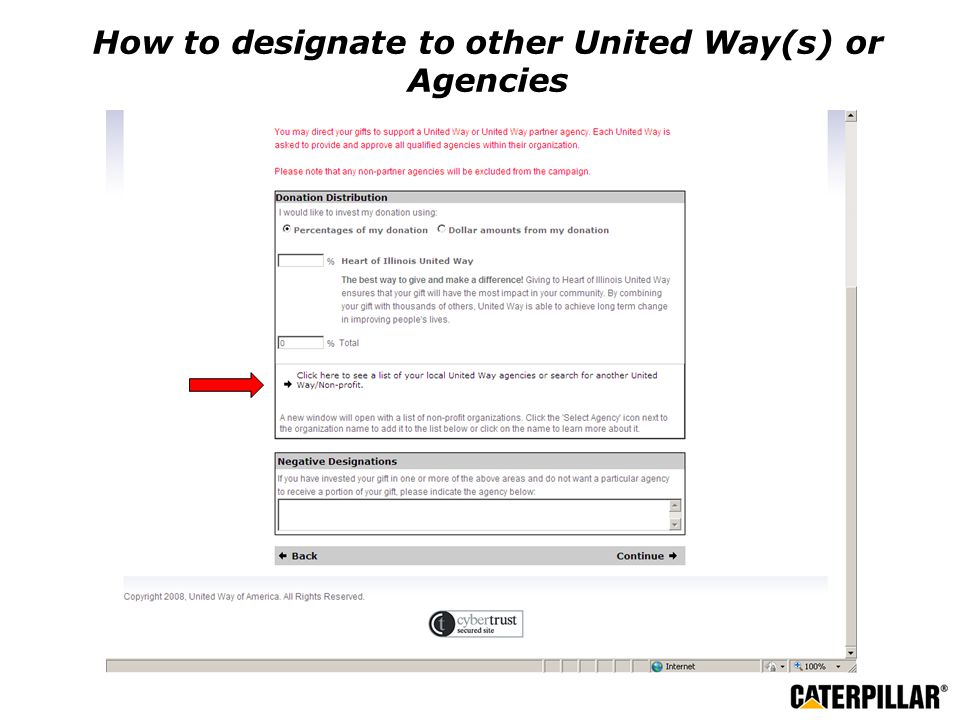 How to designate to other United Way(s) or Agencies
