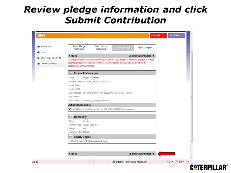 Review pledge information and click Submit Contribution