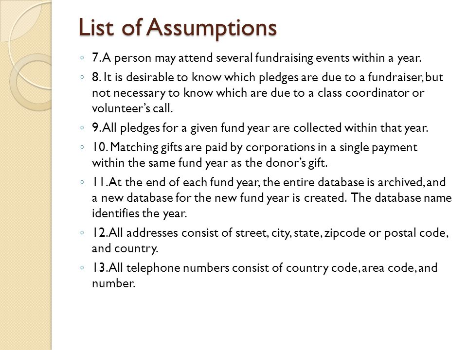 List of Assumptions ◦ 7. A person may attend several fundraising events within a year.
